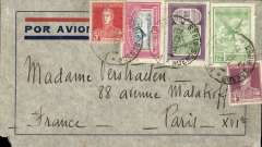(Argentina) Air France, Buenos Aires to Paris, bs 16/10, blue/grey CGA company cover franked 15c postage, $3.00 airmail canc Buenos Aires cds, carried on the South America/-Europe service. Air France to Natal then by fast 'Aviso' from Natal-Dakar, then flown Dakar-Toulouse. Note Air France assumed responsibility for the South Atlantic airmail service on August 30, 1933.Tiny non invasive lower lh corner nibble, see scan.