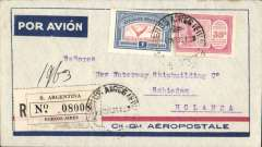 (Argentina) Compagnie Generale Aeropostale, Buenos Aires to Holland, bs Schiedam 20/3, blue/grey registered (label) CGA company cover franked 15c postage, $1.00 airmail, 20c registration canc Buenos Aires cds, carried on the South America/-Europe service.  South Atlantic airmail service, CGA to Natal then by fast 'Aviso' from Natal-Dakar, then flown Dakar-Toulouse by Aיropostale.