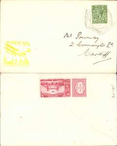 (GB Internal) Apex International Air Post Exhibition, London, First Day souvenir cover with yellow Apex cachet, franked 1/2d canc special Exhibition postmark, red perforated Apex vignette verso.