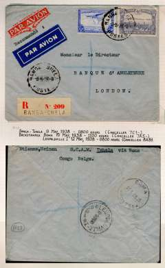 (Belgian Congo) Western Congo to England, Banga Tshela to London, no arrival ds, via Boma 10/5 and Leopoldville 12/5, registered (label) commercia airmail etiquette cover franked 8.5F. Likely surface to Boma (250 miles), then Sabena internal service to Leopoldville (150 miles), then OAT to Brussels and London. Uncommon origin.