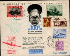 (Belgium) Brussels to Elisabethville, 24/11, and return 25/11 to Brussels 30/11, commemorating the 100th flight, souvenir cover fully franked with Belgian and Congo stamps, flight cachets and bs's, Sabena.