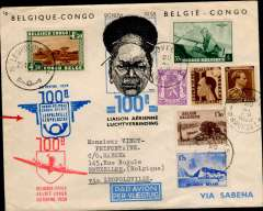 (Belgium) Brussels to Leopoldville, 24/11, and return 25/11 to Brussels 30/11, commemorating the 100th flight, souvenir cover fully franked with Belgian and Congo stamps, flight cachets and bs's, Sabena.