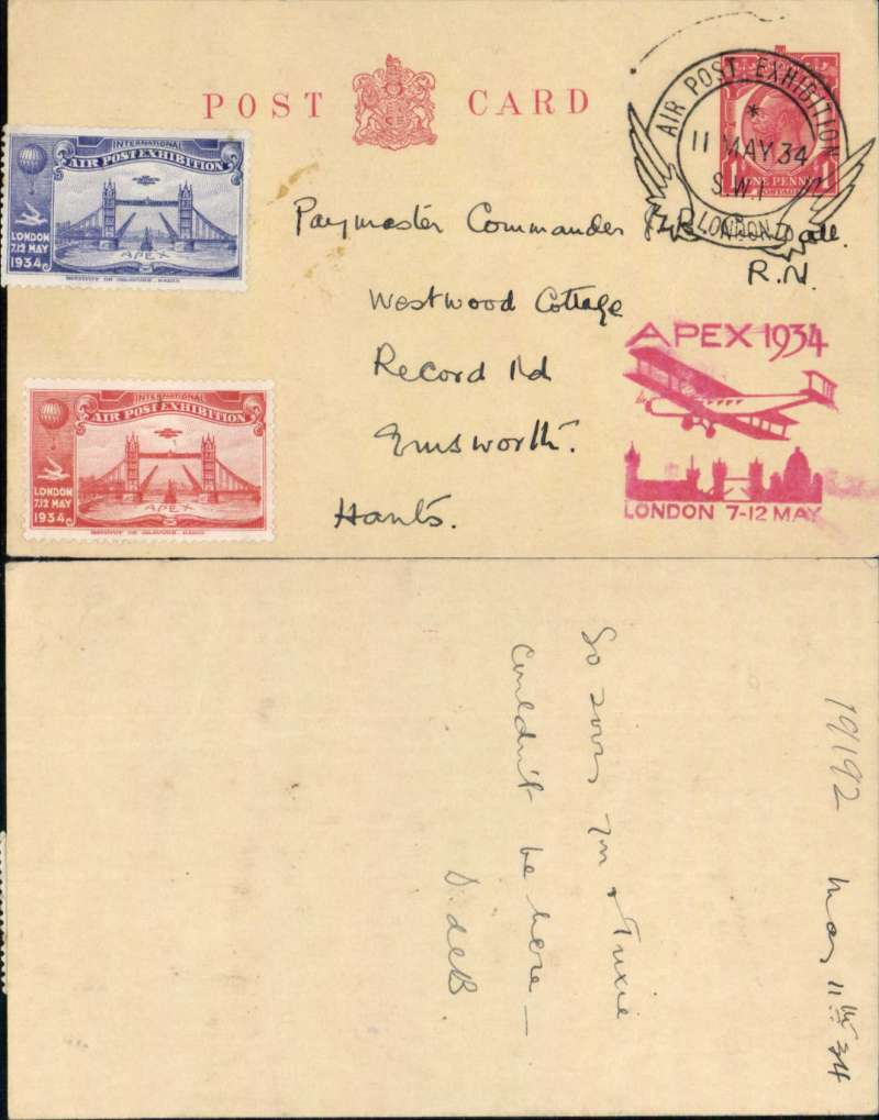 (GB Internal) Apex International Air Post Exhibition, London, PC, franked 1 1/2d canc official Exhibition postmark, red 'Apex 1934/London 7-12 May' cachet, one red and one blue Apex vignette on front.
