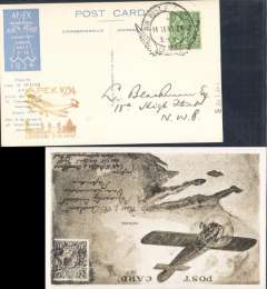 (GB Internal) Apex International Air Post Exhibition, special souvenir PPC with repro photo of Australia Capt A Butler and monoplane, franked 1/2d canc official Exhibtion postmark 11 May 34, yellow/brown 'Apex 1934/London 7-12 May' cachet