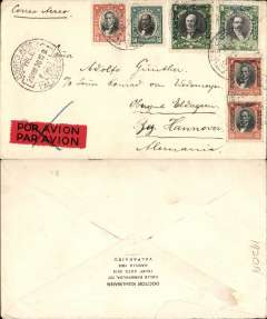 (Chile) PANAGRA or Compagnie Generale Aeropostal, early airmail from Valparaiso to London, no arrival ds, attractive red/blue/cream 'Grace Line' company cover with logo in top lh corner, franked 70c + $6.40 air, canc Valparaiso cds. The postage rate, whether by PANAGRA or CGA, was the same.