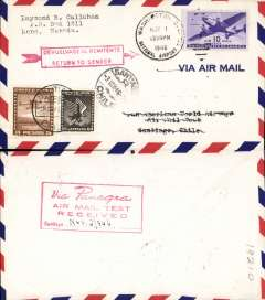 """(Chile) PANAGRA, airmail round trip test letter from Washington to Santiago with red boxed """"Return to Sender"""",  added Chile stamps cancelled for return, and red boxed """"via PANAGRA/ Air Mail Test Received""""  hs verso, plain cover franked 10c US and $3.60 Chilian stamps.  These covers are """"souvenirs of an important new rate which is not listed in AAMC"""" and """" lucky survivors of an exceptionally nice Transport Series usage"""", see March 1996 American Philatelist."""