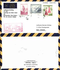 (Chile) DLH, F/F Santiago to Geneva, no arrival ds, black/yellow/cream souvenir cover, franked  65c, weak postmark, red framed flight cachet. Also commemorated the 20th anniversary of Panagra.