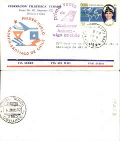 (Cuba) Lan-Chile, F/F Havana to Santiago, b/s 26/6, red flight cachet, souvenir cover.