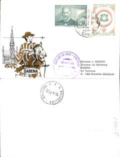 (Chile) Sabena, F/F Santiago to Brussels, bs 16/4, souvenir cover, flight cachet.