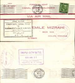 (Canal Zone) PANAGRA F/F Cristobal to Tumaco (Colombia), bs 25/5, and return to Canal Zone, bs's Cristobal and Colon 27/5, red/cream 'First Flight/Canal Zone to Colombia' souvenir cover, franked 15c, large black framed flight cachet. Carried by Sikorsky S38 seaplane.