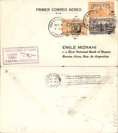 (Panama) Pan Am/PANAGRA F/F Panama City to Buenos Aires, bs 14/10, black/white Mizrah ,Primer Correo Aereo' cover franked 50 c, violet framed 'Panama-Argentina' flight cachet. Flown Pan Am to Cristobal, then Panagra to BA.