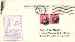 (Canal Zone) PANAGRA F/F Cristobal to Buenos Aires, bs 14/10, black/white Mizrah ,Primer Correo Aereo' cover franked 50 c, violet framed flight cachet.