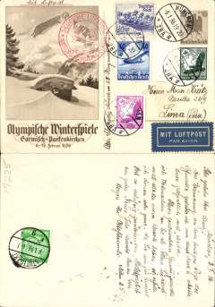 (Germany) Lufthansa/Condor/LAB, souvenir brown/cream PPC from the Winter Olympics at Garmisch 6-16 February 1936, Munich to Lima, Peru, Stuttgart 9/1transit cds, franked 166pf, sent one month before the opening of the games, fine strike red 'Deutsche Luftposta/Europa-SudAmerika' cachet.