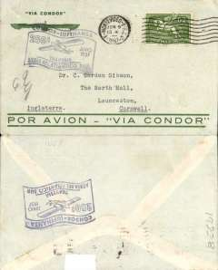 (Uruguay) 250th South Atlantic crossing, Condor/Lufthansa, Montevideo to England, no arrival ds, flown across the South Atlantic to Europe, black 'flag' flight cachet, dark blue/grey 'Par Avion - Via Condor' company cover with winged Condor logo franked 12c postage + 50c airmail. Uncommon from Uruguay.