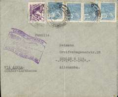 (Brazil) 250th South Atlantic crossing, Condor/Lufthansa, Sao Paulo to Berlin, no arrival ds, flown across the South Atlantic to Europe, purple 'flag' flight cachet, airmail cover franked 200R postage + 4000R airmail.