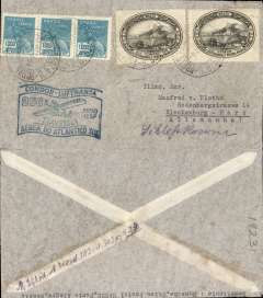 (Ship to Shore) 250th South Atlantic crossing, Condor/Lufthansa, Porto Alegre to Berlin, no arrival ds, flown across the South Atlantic to Europe, green 'flag' flight cachet, airmail cover franked 400R postage + 4000R airmail.