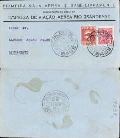 (Brazil) VARIG, F/F Bage-Livramento, bs Livramento 19/4, attractive black/pale blue souvenir cover franked 200R postage + 350R airmail, canc Bage cds.