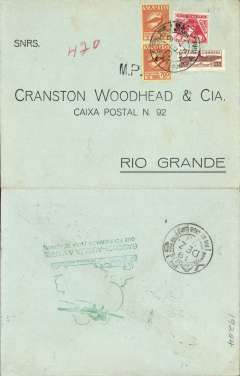 "(Brazil) VARIG internal airmail, Porto Alegre to Rio Grande, bs 19/12, black/grey green printed commercial cover franked 1400R airmail, 200R postage and 100R obligatory tax, fine strike green ""Gauchoi-Auxilia a Varig/Que FCI Fundada Para Te Servir"" hs verso."