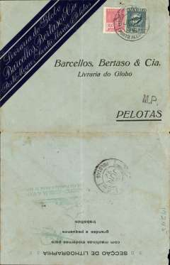 "(Brazil) VARIG internal airmail, Porto Alegre to Pelotas, bs 5/6, attractive black/grey green Barcello Bertaso printed commercial cover franked 1400R airmail + 300R postage,  ""M.P."" (by hand) hs, green ""Gauchoi-Auxilia a Varig/Que FCI Fundada Para Te Servir"" hs verso. Ironed vertical crease."