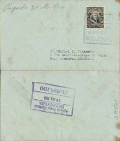 """(Ecuador) PANAGRA, Ecuador to Colombia, underpaid airmail from Guayaquil to Buenaventura, bs fine strike framed """"Agencia Postal Nacional/Buenaventura/10 Jun 1929/Cumplido"""", plain cover rated 10c canc violet boxed """"P.A.G.A.C. Servico Aereo Ecuador"""" cachet + 1.50 sucre airmal paid in gold (30c gold = 1.50 sucre). 'P.A.G.A.C.' is the acronym for the original company name 'Pan American Grace Airways Company'. This name lasted but a short time until September 1929, and the cachet is therefore scarce. Also ms """" """"Pagado 30 centavos Oro"""". A charge of 30 Centavos Gold was levied due to lack of postage stamps."""
