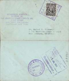 "(Ecuador) PANAGRA, first acceptance of mail from Ecuador for Colombia, for carriage on the last leg of the inaugural flight from Santiago (Chile) to Buenaventura, Guayaquil to Buenaventura, bs framed ""Co......../Seccion . Apparto../25 Jul 1929/Buenaventura"", plain cover rated 10c postage, canc violet boxed ""P.A.G.A.I. Servico Aereo Ecuador"" cachet, + 1.50 sucre airmal paid in gold (30c gold = 1.50 sucre). 'P.A.G.A.I.' is the acronym for the original company name 'Pan American Grace Airways Inc.'. This name lasted but a short time until September 1929, and the cachet is therefore scarce. Also fine strike violet six line ""Ecuadorian Airways/Division of/Pan American Grace Airways Inc/First Flight/New York-Valparaiso/Valparaiso-New York"" cachet, and violet circujlar ""Pan-Americaqn Grace Airways"" company cachet verso. The plane on the first inward service was held up at Ovalle with undercarriage problems so, for the return, the mail was carried  from Santiago to Orville by the Chilean Air Force and transferred to the Panagr"