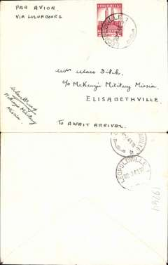 (Belgian Congo) WWII airmail cover from McKenzie Military Mission Leopoldville to Elizabethville via Luluabourg,b/s, non invasive ironed vertical crease,uncommon. Colonel McKenzie headed important aerial military mission to the Congo in WWII.