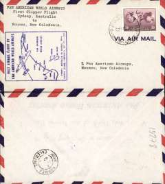 (Australia) F/F FAM 19, Sydney to Noumea, New Caledonia blue cachet, b/s 11/11, airmail cover franked 1/6d, Pan Am