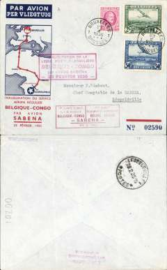 (Belgium) Sabena F/F regular Brussels-Leopoldville service, bs 28/2, blue/red/pale blue souvenir cover franked 2.890F, faint vertical crease, two different framed red flight cachets, one a bilingual French/Flemish F/F cachet.