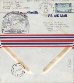 (United States) F/F FAM 19, into Sydney from San Francisco, b/s 26/2, airmail cover franked 25c, black flight cachet, Pan Am