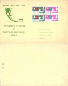 (Gilbert & Ellice Islands) First Schedule Air Service, Gilbert & Ellice Islands to England, no arrival ds, green/cream souvenir airmail FDC, franked with set of ITU in pairs, canc Tarawa cds.