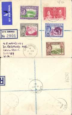 (Dominican Republic) Non philatelic registered (label) airmail etiquette cover to England, no arrival ds, franked 1/2 1/2d with various KGVI stamps, canc GPO Dominica cds.