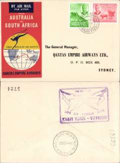 (Mauritius) First Regular Airmail S Africa-Australia, Port Louis to Sydney, b/s 9/9, violet cachet verso, official souvenir cover, Qantas