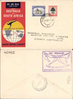 (South Africa) First Regular Airmail S Africa-Australia,  b/s 9/9, violet cachet verso, official souvenir cover, Qantas