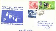 (Trinidad) BWIA, F/F Trinidad to New York, bs 11/6, plain cover franked 25c, large blue flight cachet.