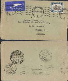 (South Africa) Imperial Airways, airmail cover carried Johannesburg to Vienna, bs 1/7, via Athens 30/6via Greece  b/s, closed tear verso.