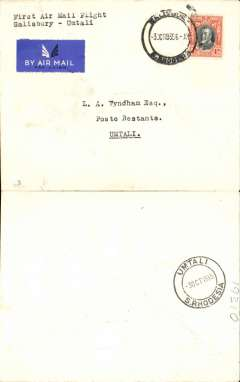 (Southern Rhodesia) Rhodesia and Nyasaland Airways, F/F internal flight, Salisbury to Umtali, bs 3/10, on Salisbury-Beira route, b/s 5/10, Wyndham cover franked 4d, canc Salisbury cds, etiquette, typed 'First Air Mail Flight/Salisbury to Umtali'.