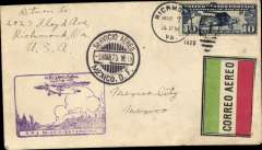 "(Mexico) Scarce emergency pre-inaugural US dispatch, 7/10, to re-establish the air service between Mexico and the US, Richmond to Mexico City, 9/3 arrival ds on front, purple Mexico-Matamoros inaugural flight cachet, red/white/green etiquette. No advance notice given of this flight, ""so these covers are very rare"" (ref American AMC Vol 1, 1998)."