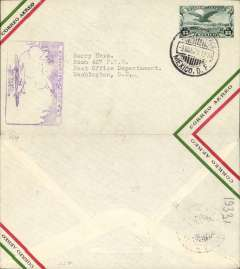 (Mexico) Mexico City to Washington, carried on F/F  Mexico City-Matamoros connecting with the F/F Dallas-Brownsville service, purple inaugural Mexico-Matamoros flight cachet on front. Double F/F item.