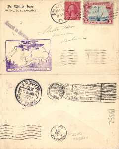 (Mexico) US dispatch, San Antonio to Mexico City, bs 14/3 Servicio Aereo, and on to Bahamas, bs Nassau, purple Mexico-Matamoros inaugural flight cachet, Walter Hess cover franked 2 + 5c air.