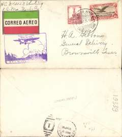 (Mexico) Tampico to Brownsville, bs 9/3, carried on F/F  Mexico City-Tampico, purple Mexico-Matamoros inaugural flight cachet, then connecting with the F/F Dallas-Brownsville service, red/white/green etiquette. Nice double F/F item.
