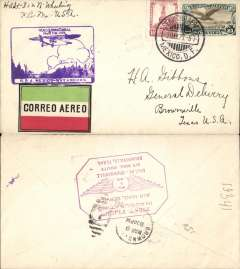 (Mexico) Mexico City to Brownsville, bs 9/3, carried on F/F  Mexico City-Matamoros connecting with the F/F Dallas-Brownsville service, purple inaugural Mexico-Matamoros flight cachet on front and framed magenta Dallas-Brownsville flight cachet  verso, red/white/green etiquette. Nice double F/F item.