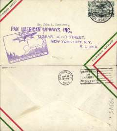 (Mexico) Matamoros to Pan American Airways, New York, bs 11/3, carried on F/F  Mexico City-Matamoros service connecting with the F/F Dallas-Brownsville service, purple inaugural Mexico-Matamoros flight cachet. Nice double F/F item.