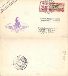(Mexico) Inaugural return service, Tapachula to Vera Cruz, bs 21/5, purple Tejera to Tapachula flight cachet. 21/5 is one of two return dates possible, see American AMC, Vol 1, 1998.