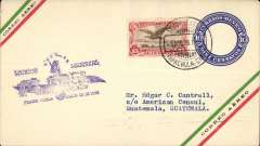 (Mexico) Pan Am/Pickwick Latin American Airways, mail for Guatemala accepted for carriage on the inaugural Tapachula-Mexico City service, airmail 10c PSE with additional 25c, canc Tapachula 5 Ago 1929, also Suchiate (Tapachula) 7/8 and Guatemala 9/7 postmarks verso.