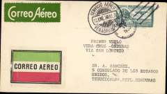 (Mexico) Mexico to Honduras, first mail South from San Salvador, F/F Veracruz to Tegucicalpa, bs 28/1, via Guatemala 17/1, and San Salvador, plain cover franked 35c, canc Servicio Aerea/15 Ene 30/Veracruz', green/white and red/white/blue airmail etiquettes. Nice item