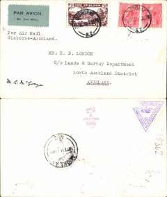 (New Zealand) Air Travel Survey Flight, Gisborne-Auckland, bs 10/12, franked 3d air + 2d,  typed 'Per Air Mail/Gisborne-Auckland'. Signed by pilot Squadron Leader M.C.McGregor. Air Mail Society of NZ Expert Committee Authentication hs and Francis Field authentication hs verso.