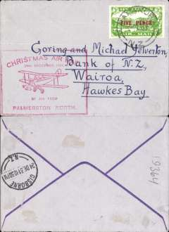 (New Zealand) NZ Air League, First New Zealand Official Christmas Air Mail, Palmerston N to Gisborne, bs 24/12, franked 3d air, large red flight cachet verso.