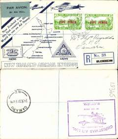 (New Zealand) NZ Air League, First New Zealand Official Christmas Air Mail, Blenheim-Omaru, bs 24/12, registered blue/cream 'Great Barrier Island' map cover franked 2x3d air, large violet flight cachet verso.