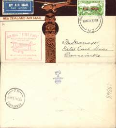(New Zealand) Wellington-Danneverke Survey Flight, bs 16/3, illus NZ Airmail cover with Maori totem and plane, franked  5d air stamp, red flight cachet, Air Travel Ltd.