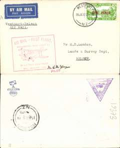 (New Zealand) West Coast (South Island) survey flight, Westport to Nelson, bs 20/1,  plain cover franked 5d opt air stamp, red flight cachet, Air Travel Ltd. Signed by pilot Squadron Leader M.C.McGregor.